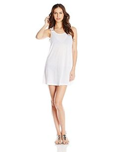 3505216248e0a J VALDI Womens Rib Onionskin Ring Cover Up White Medium    Click image for  more details.