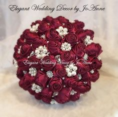 BURGUNDY BROOCH BOUQUET Large Satin Bridal by Elegantweddingdecor