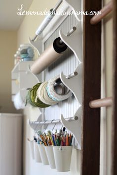 craft holder by luvablestacey. i need to make something like this inside the closet door of the guest room/sewing room/craft room. Craft Room Storage, Craft Organization, Craft Rooms, Craft Shelves, Organization Station, Wall Storage, Organizing Ideas, Space Crafts, Home Crafts