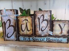 Baby Wood Block Sign by ktuschel on Etsy, $20.00