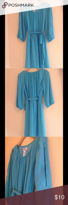 Dress Turquoise greenish dress with side sleeve half open in size medium. Dresses Midi