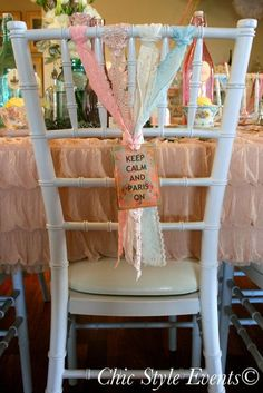 Decorated chairs at a Paris birthday party #paris #partychairs