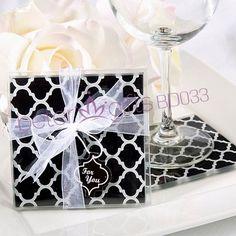 europeu preto de vidro elegante coaster( conjunto de 2pcs)