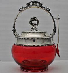 BEAUTFUL VICTORIAN c1890 SILVER PLATE & CRANBERRY GLASS JAM JAR HONEY POT wSPOON
