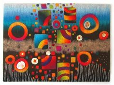 Jana's Kreatives Tagebuch: Filz für Tanja Felt Wall Hanging, Felted Wool Crafts, Felt Pictures, Needle Felting Tutorials, Felt Embroidery, Wool Art, Textiles, Nuno Felting, Felt Fabric