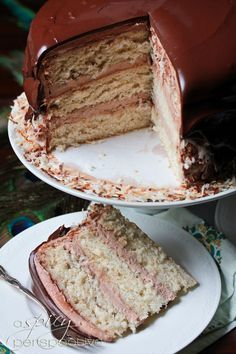 Banana Coconut Cake with Whipped Chocolate Frosting ~ ASpicyPerspective.com