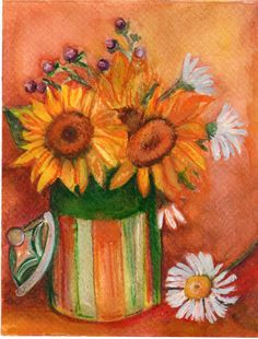 Sunflowers Painting  Watercolor Original ART by SharonFosterArt, $20.00