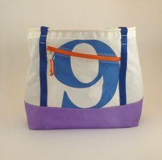 Nautical Bag Beach Bag Recycled Sails Sail Bag by HoistAwayBags