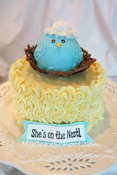My Cake School's Blog - Sweet Baby Shower Cake tutorial.  All buttercream (except choc candy nest). Tips 3, 12, 104, and 2D.