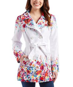 This White & Red Floral Trench Coat by Jessica Simpson Collection is perfect! #zulilyfinds