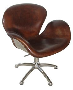 Brown Leather Office Chair. From Noir Furniture.