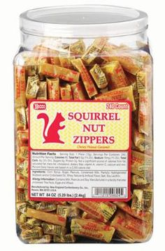 Famous sweets made in Massachusetts  Squirrel Nut Zippers  These vanilla, caramel, and nut taffy candies are named after an illegal drink during Prohibition. A '90s retro swing band named themselves after the candy and handed it out during performances. In 2004, Necco picked up the license to manufacture Squirrel candy brands and brought the production back to Massachusetts after it moved to Texas.