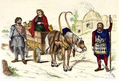 Roman gauls. Gallic habitation. Woman. Peasant. Chariot. Rich farmer.