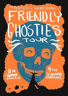 A poster for The Plastics & Shortstraw 'Friendly Ghosties' tour. Halloween Party Poster, Halloween 2016, Halloween Design, Brand Names And Logos, Band Posters, Music Posters, Concert Posters, Graphic Design, Prints