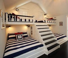 can't get enough of this coastal kids room design with bunk beds & steps. - Home Decor - nice can't get enough of this coastal kids room design with bunk beds & steps… by cool-homedeco - Bunk Beds With Stairs, Kids Bunk Beds, Loft Beds, Bunk Beds Built In, Cool Bunk Beds, Custom Bunk Beds, Boys Bunk Bed Room Ideas, Built In Beds For Kids, Corner Bunk Beds