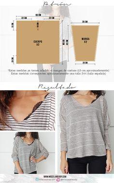 Patrón para hacer este jersey de rayas con escote en pico y aperturas laterales