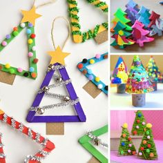 Thanks to these FABULOUS DIY Christmas Tree Crafts for adults you can fill your home with trees of all shaped and sizes this Holiday Season! Childrens Christmas Crafts, Christmas Crafts For Kids To Make, Christmas Paper Crafts, Homemade Christmas Cards, Christmas Activities, Holiday Crafts, Summer Crafts, Easy Christmas Ornaments, Cute Christmas Tree