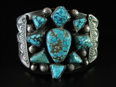 Great early cluster bracelet ca 1940's with unusually cut #8 turquoise.