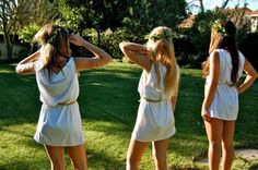 Easy toga costume: oversized white t shirt, cut off the sleeves, and add a belt