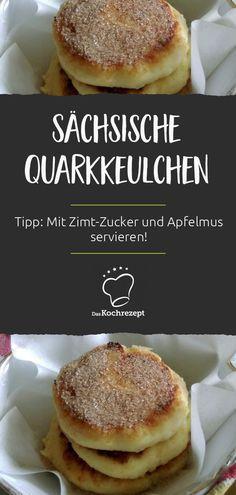 Ob als Hauptgericht oder Dessert, diese sächsischen Quarkkeulchen sind super saftig und ein Highlight für Groß und Klein. Tipp: Mit Zimt-Zucker und Apfelmus servieren! Vegan Clean, Carne, Smoothies, Sweet Tooth, Super, Sweets, Baking, Fruit, Vegetables