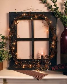 Old window frame made into something beautiful! Add pics to each quadrant and WO. - Old window frame made into something beautiful! Add pics to each quadrant and WOW! Primitive Homes, Primitive Crafts, Primitive Country, Primitive Windows, Primitive Decorations, Primitive Kitchen, Country Crafts, Country Decor, Rustic Decor