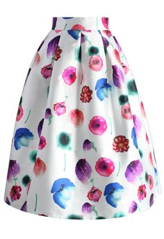 Rainbow of Flowers Pleated Midi Skirt - New Arrivals - Retro, Indie and Unique Fashion