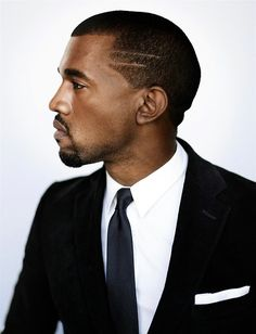 kanye west - black suit, classic white shirt + navy patterned tie [ v. clean look]