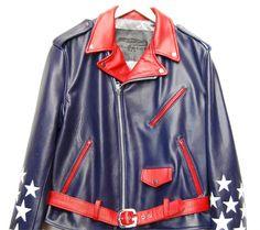 www.hiphopcloset.com - G Gator Stars Blue Motorcycle Leather Jacket
