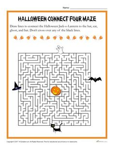 Students will have fun connecting the Halloween Jack-o-Lantern to different spooky characters with this printable Halloween maze activity. Get started! Halloween Crossword Puzzles, Halloween Worksheets, Halloween Printable, Halloween Maze, Halloween Themes, Halloween Party, Maze Drawing, Hidden Pictures Printables, Christian Halloween