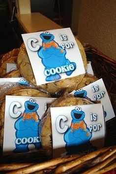 Celebrating Today: Sesame Street Birthday Party - C is for Cookie Favors Monster Birthday Parties, Elmo Party, Elmo Birthday, Birthday Favors, 3rd Birthday Parties, Birthday Ideas, Birthday Pins, Kid Parties, Birthday Stuff
