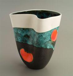 French Elchinger  Mid-Century folded vase – matt and volcanic glaze – 1950's