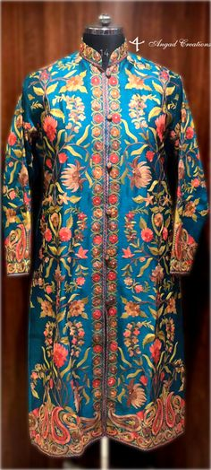 Get a polish look with this jacket. Pair it up with a skirt, trouser, dress or even a flowing maxi and be ready in style. Art Silk Jacket With Multi-Color Aari Embroidery  Base Color: Sea Geen  Free Size (Can be altered according to your size)
