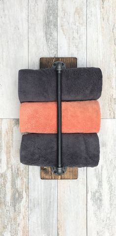 Vertical Towel Holder Rustic Industrial Handmade by Lightrooom