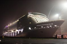 Quantum of the Seas at night.