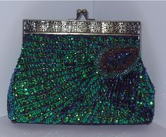 Beaded Peacock feather clutch