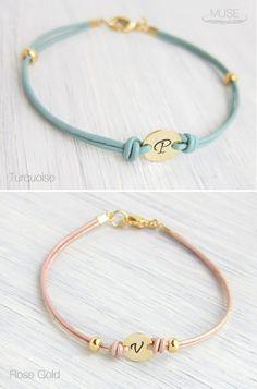 Monogram Leather Bracelet - Personalized Initial Bracelet, Custom Initial Gold Disc, Stacking Bracelet, Friendship Bracelet, Bridesmaid Gift...