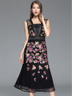 Black Hollow Out Embroidered Floral Midi Dress