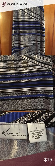 Kim Rogers blue and black skirt Cute skirt, has been worn 4-5 times, perfect condition, no stains. I wore it with a royal blue cardigan. Would also look great with a denim jacket. Kim Rogers Skirts Maxi