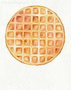 I do love waffles. Illustration Tumblr, Food Illustrations, Belgium Waffles, Pancakes And Pajamas, Cake Topper Tutorial, Bar Workout, Waffle House, Kawaii Doodles, Food Painting
