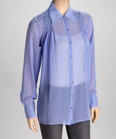 Lavender Sheer Embellished Button-Up