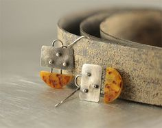 Amber earrings amber jewelry sterling silver by SylviaArtGallery, $64.00