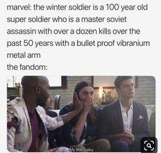 Avengers Humor, Marvel Avengers, Marvel Jokes, Marvel Funny, Captain Marvel, Winter Soldier Bucky, Die Rächer, Funny Photos Of People, Funny Memes