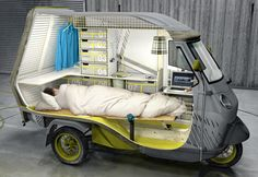 German industrial designer Cornelius Comanns managed to turn a tiny three-wheeled car into a rolling home. This small vehicle apartment is fully equipped with a bed, two seating units, a cooking zone, a basin, storage space, a water tank and a refrigerator to offer the comforts of a home on long journeys.