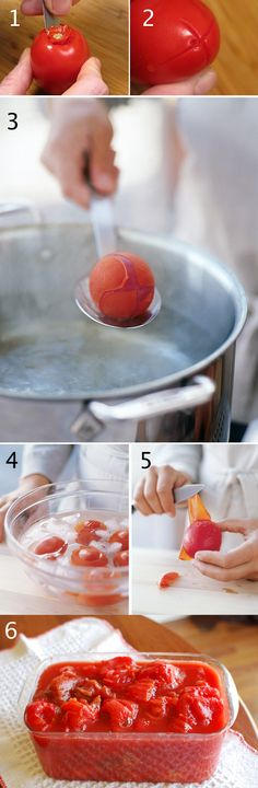 Learn how to peel fresh tomatoes | How To Make The Best Tomato Sauce.. My mother in-law used to freeze her extra roma tomatoes and when we needed any for sauces we would just pop out how many we needed and drop them in boiling water for several seconds..
