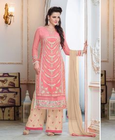 Pink Georgette Kameez With Palazzo Pant 59913