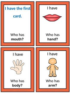 This ESL game can be played to practice English body and illness vocabulary. Useful and fun game for primary/younger students level) for practising their body vocabulary. Esl Lessons, English Lessons, Learn English, English Games For Kids, English Activities, English For Beginners, Material Didático, English Language Learners, Vocabulary Games
