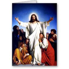 "Rejoice. Christ is Risen. Customizable Religious Christian Easter Fine Art Greeting Cards. ""Consolator"", Oil Painting, circa 1880. Artist : Carl Heinrich Bloch. Matching cards, postage stamps and other products available in the Holidays / Easter Category of the oldandclassic store at zazzle.com"
