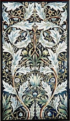 The Zurich Mural by StoneImpressions, is a black, silver and gold presentation of a William Morris/Russian Tsar, inspired botanical. William Morris Patterns, William Morris Art, Art And Craft Design, Design Art, Motifs Art Nouveau, Stoff Design, Arts And Crafts Movement, Fabric Wallpaper, Craftsman Style