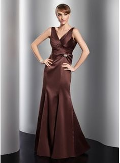 Trumpet/Mermaid V-neck Floor-Length Satin Evening Dress With Ruffle Crystal Brooch Bow(s)