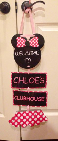 Downloaded Minnie Mouse personalized sign, Welcome party sign, baby showers, room decor, wall, door hanging, disney, birthday decoration by ChloesCouture on Etsy https://www.etsy.com/listing/175530339/downloaded-minnie-mouse-personalized